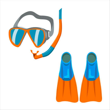 underwater swimming mask, fins, vector isolated on white background. Vetores