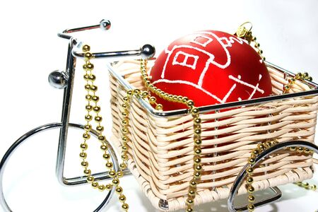 christmas decoratio� red ball with  ornament and bicycle photo