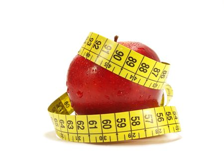 'tape measure': Red apple and tape measure isolared on white Stock Photo