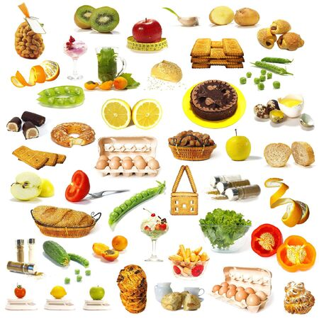 Large page of food assortment on white background Stock Photo