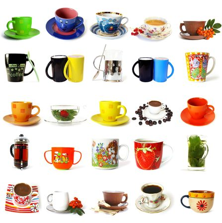Big collection of  tea mugs and coffee cups isolated on a white background photo