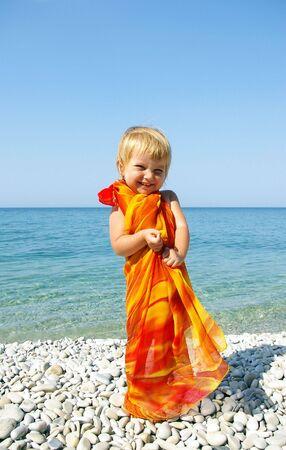 seacoast: Cute little girl on seacoast
