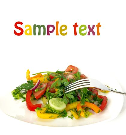 Freshness vegetarian salad and a fork isolated photo