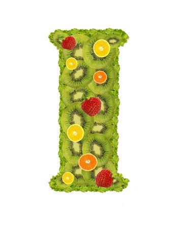 Alphabet from fruit isolated on a white background - I photo