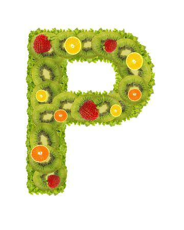 Alphabet from fruit isolated on a white background - P photo