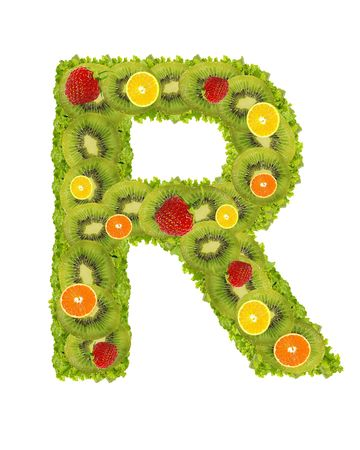 Alphabet from fruit isolated on a white background - R photo
