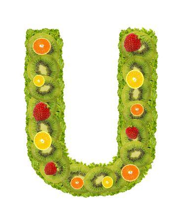 Alphabet from fruit isolated on a white background - U photo