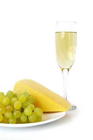 Cheese, grapes and wine isolated on a white background photo