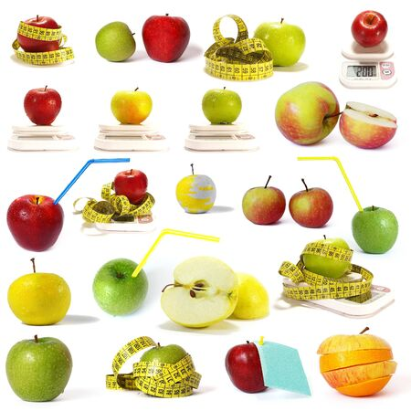 Big collection of  apples isolated on a white background photo