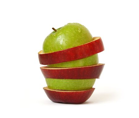 Mixed apple isolated on a white background Stock Photo - 3595577