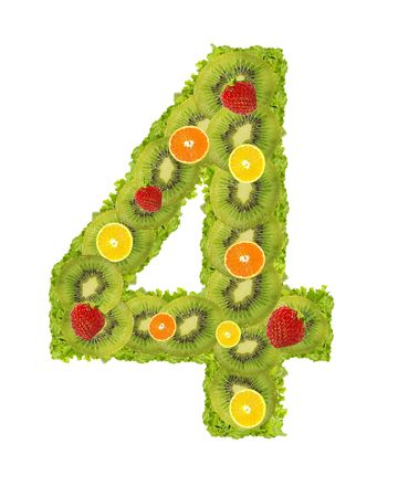 Numeral from fruit isolated on a white background - 4 photo