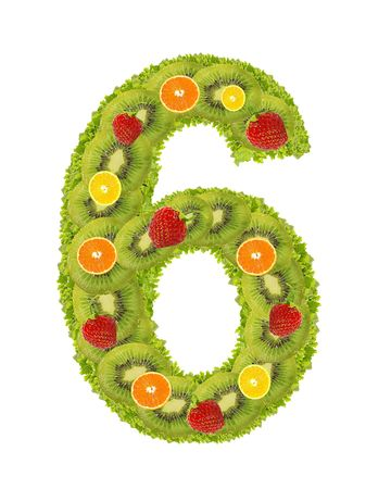 Numeral from fruit isolated on a white background - 6 photo