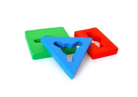 developmental: Elements of developmental toy isolated on white background
