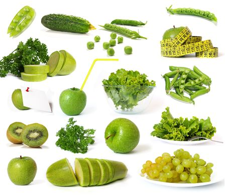 Big collection of green fruits and vegetables isolated photo
