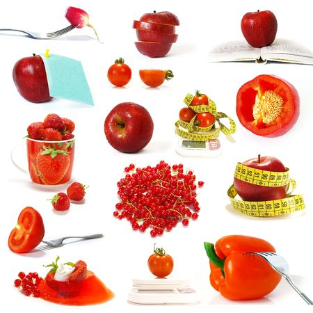 Big collection of red fruits and vegetables isolated photo