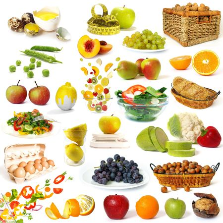 Healthy food collection isolated on white background