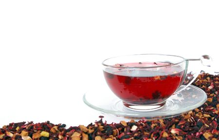 Herbal tea  isolated on a white background photo