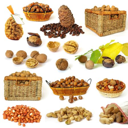 Nuts collection isolated on a white background Stock Photo - 3735929