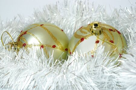 New Year's card. Two spheres and christmas decorations Stock Photo - 3772744