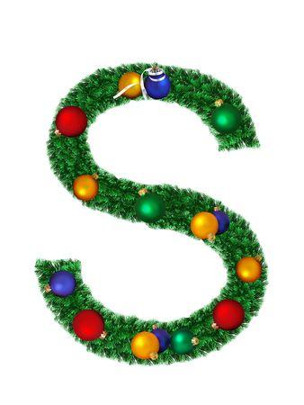Christmas alphabet isolated on a white background - S photo