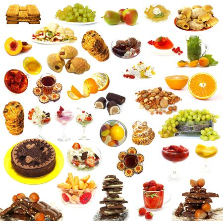 Big collection of sweets isolated on white background photo