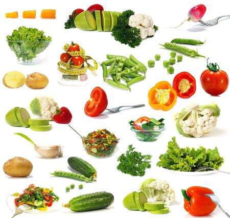 Big collection of vegetables  isolated on white background photo