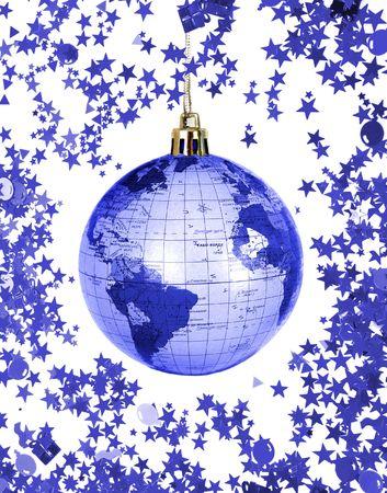 Christmas world globe isolated on white background photo
