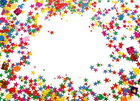 Colored confetti isolated on a white background  Stock Photo