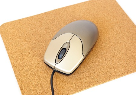 mousepad: Computer mouse and mousepad on white background