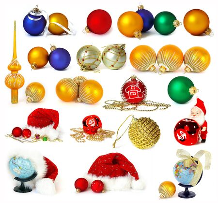 Big collection of Christmas decoration on white background photo