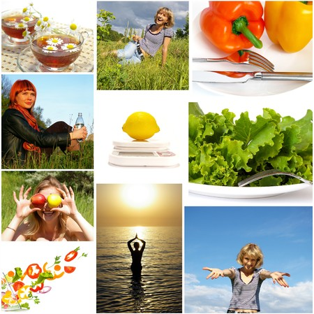 nutrition and health: Healthy lifestyle. Healthy nutrition and fitness concept