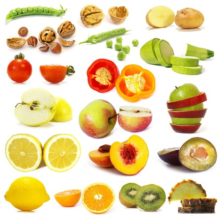 Cut vegetables and fruits collection isolated on white background photo