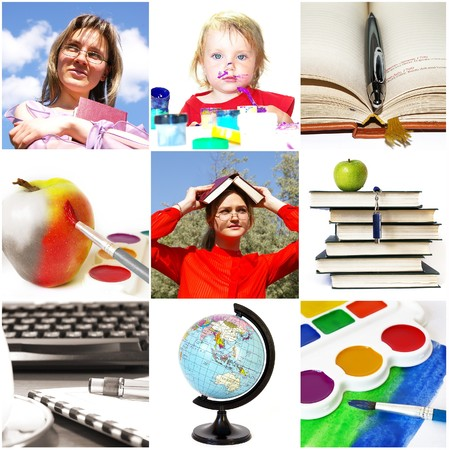 Group of education theme people and objects  Stock Photo - 3979383