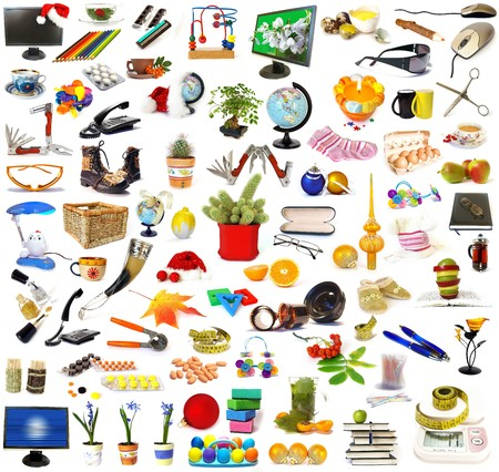 Big collection of objects isolated on white Stock Photo