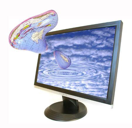 terrestrial globe: Terrestrial globe and monitor on white background
