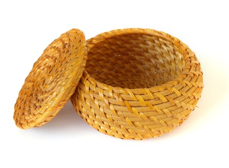 Woven basket isolated on a white background Stock Photo - 4031113