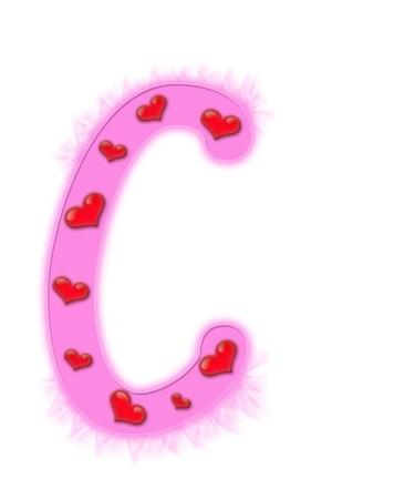 Valentines day alphabet isolated on a white background - C photo