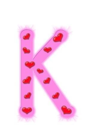 Valentines day alphabet isolated on a white background - K photo