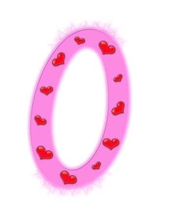 Valentines day alphabet isolated on a white background - O photo