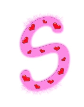Valentines day alphabet isolated on a white background - S photo