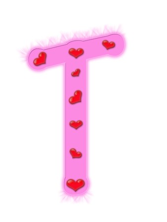Valentines day alphabet isolated on a white background - T photo