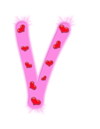 Valentines day alphabet isolated on a white background - V photo