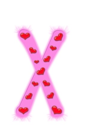 Valentines day alphabet isolated on a white background - X photo