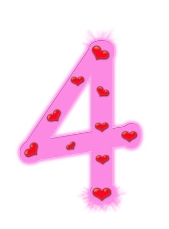 Valentines day numeral isolated on a white background - 4 photo
