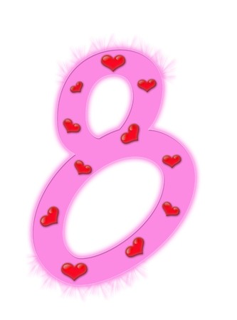 Valentines day numeral isolated on a white background - 8 photo