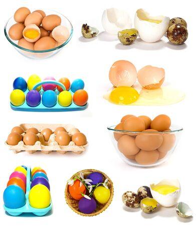 Big set of eggs isolated on white photo