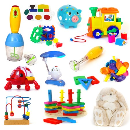 Toys collection isolated on a white background photo