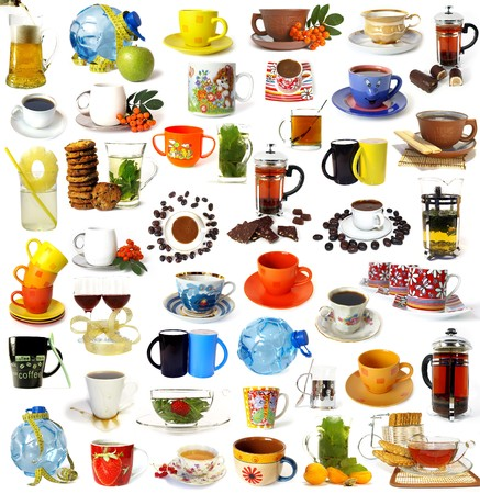Big set of drinks isolated on white background photo