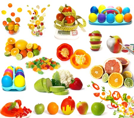 Big set of colorful food on white photo