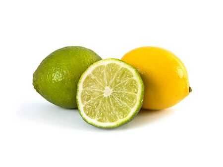yeloow: Lime and lemon isolated on white background Stock Photo